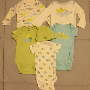Cute set of 5 infant bodysuits.